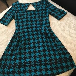 Candie's teal knit houndstooth dress